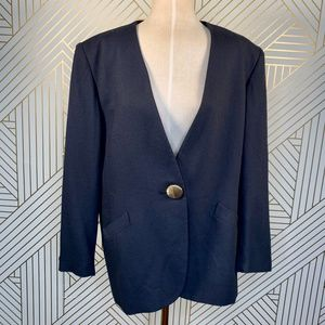 Christian Dior Vintage Navy Blue Button Blazer